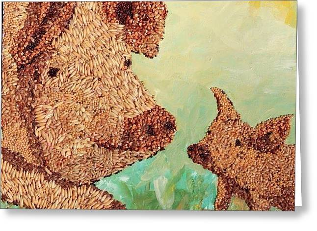 The Agricultural Life Greeting Cards - Pork and Bacon Greeting Card by Naomi Gerrard