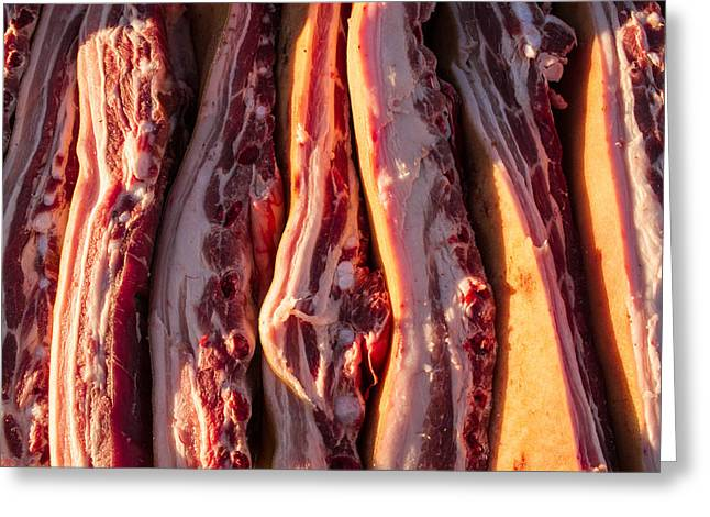 Piglets Greeting Cards - Pork Belly and Ribs Greeting Card by John Williams