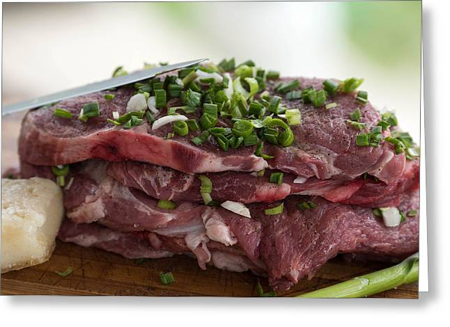 Table Greeting Cards - Pork meat with green garlik reade for grill Greeting Card by Adrian Bud