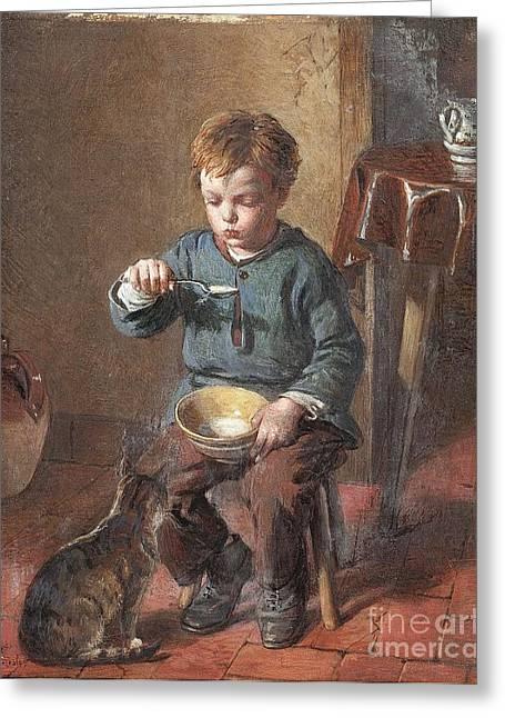 Porridge Paintings Greeting Cards - Porridge Greeting Card by William Hemsley
