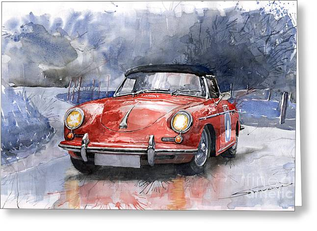 Vintage Auto Greeting Cards - Porsche 356 B Roadster Greeting Card by Yuriy  Shevchuk