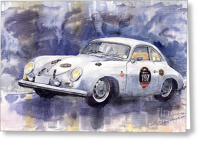 Vintage Auto Greeting Cards - Porsche 356 Coupe Greeting Card by Yuriy  Shevchuk