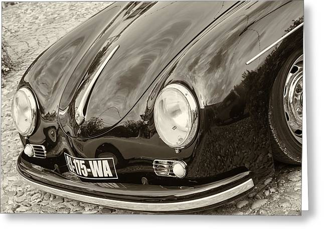 Fashion Art For Print Greeting Cards - Porsche 356 Lines in sepia Greeting Card by Nomad Art And  Design