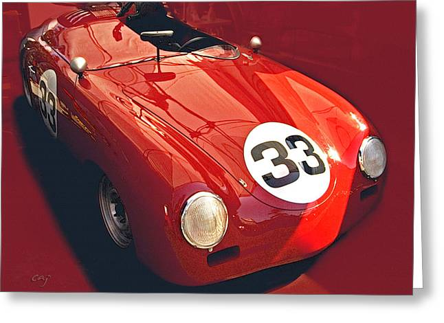 Recently Sold -  - Indy Car Greeting Cards - Porsche 356 Race Trim Greeting Card by Curt Johnson