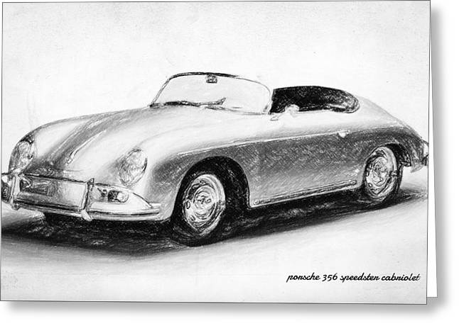 James Dean Posters Drawings Greeting Cards - Porsche 356 Greeting Card by Taylan Soyturk