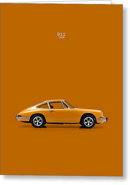 Blue Classic Car Greeting Cards - Porsche 911 1968 Greeting Card by Mark Rogan