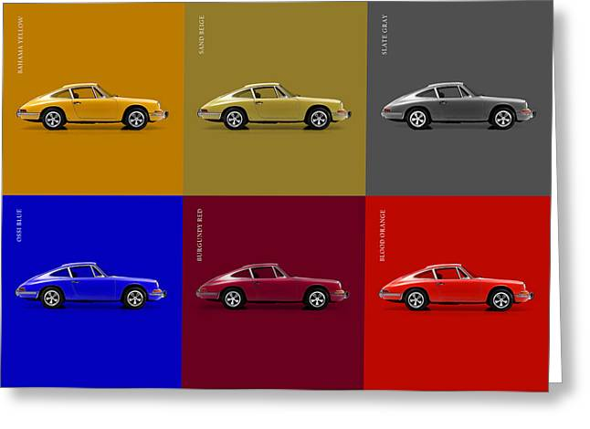 Transport Greeting Cards - Classic Porsche 911 Colours Greeting Card by Mark Rogan