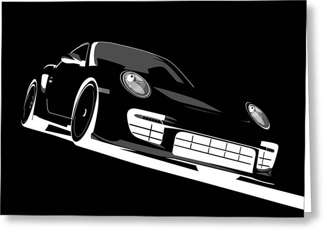 Speed Greeting Cards - Porsche 911 GT2 Night Greeting Card by Michael Tompsett