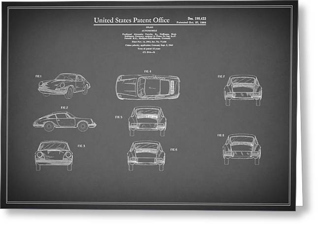 Classic Porsche 911 Greeting Cards - Porsche 911 Patent 1964 Greeting Card by Mark Rogan