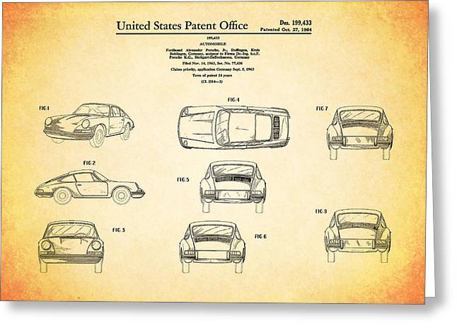 Classic Car Greeting Cards - Porsche 911 Patent Greeting Card by Mark Rogan