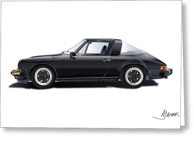 Sport Drawings Greeting Cards - porsche 911 SC Targa Greeting Card by Alain Jamar