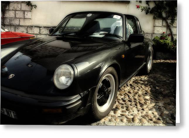 Nine Eleven Greeting Cards - Porsche 911 SC Targa in Black Greeting Card by Georgia Fowler