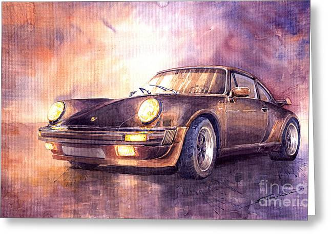 Vintage Auto Greeting Cards - Porsche 911 Turbo 1979 Greeting Card by Yuriy  Shevchuk
