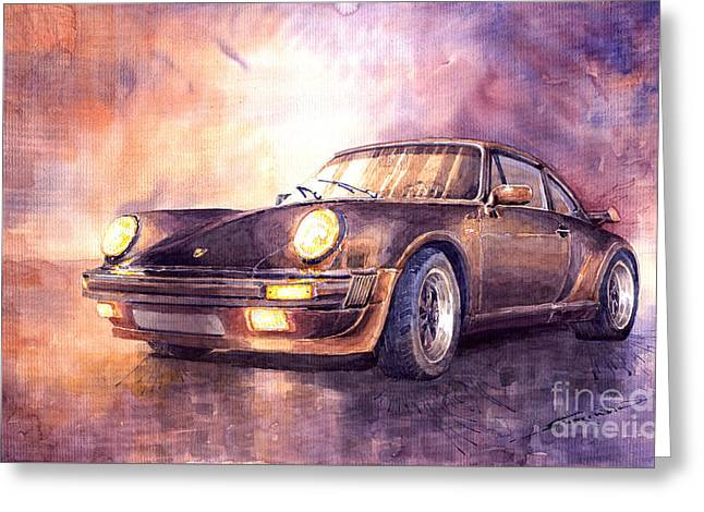 Watercolour Greeting Cards - Porsche 911 Turbo 1979 Greeting Card by Yuriy  Shevchuk