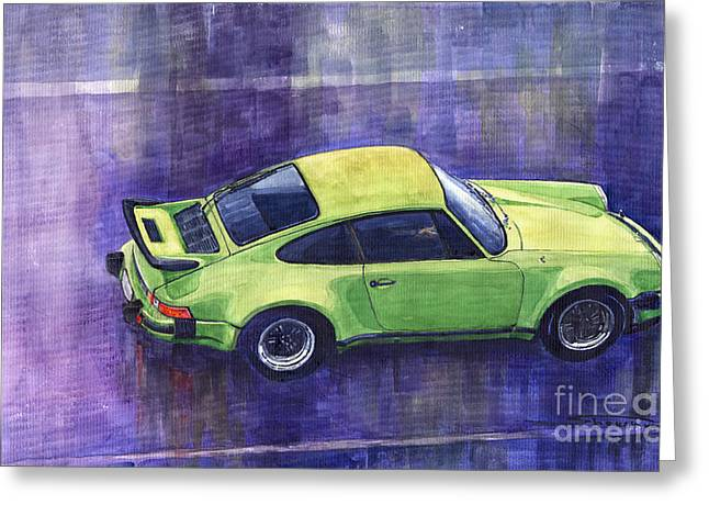 Porsche 911 Turbo Green Greeting Card by Yuriy  Shevchuk