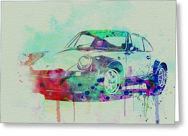 Vintage Cars Greeting Cards - Porsche 911 Watercolor 2 Greeting Card by Naxart Studio