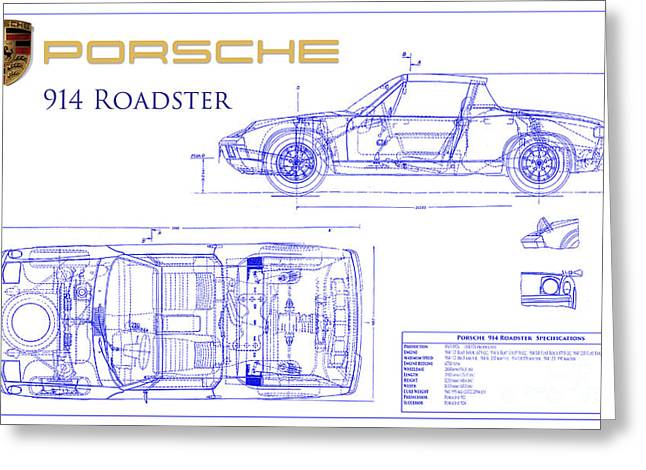 550 Greeting Cards - Porsche 914 Blueprint Greeting Card by Jon Neidert