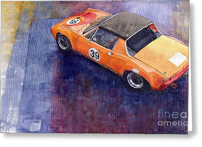 Watercolour Paintings Greeting Cards - Porsche 914 GT Greeting Card by Yuriy  Shevchuk