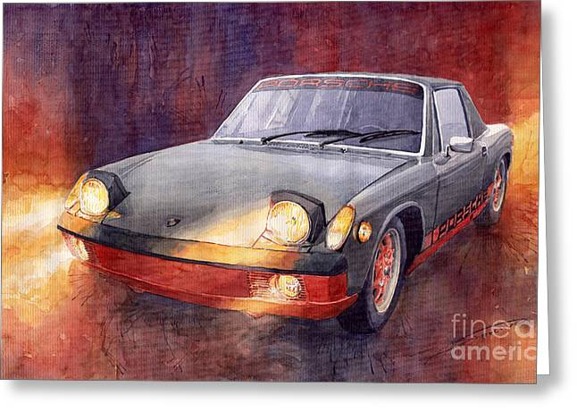 Auto Paintings Greeting Cards - Porsche 914 Greeting Card by Yuriy  Shevchuk