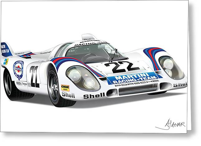 Alm Greeting Cards - Porsche 917 Greeting Card by Alain Jamar