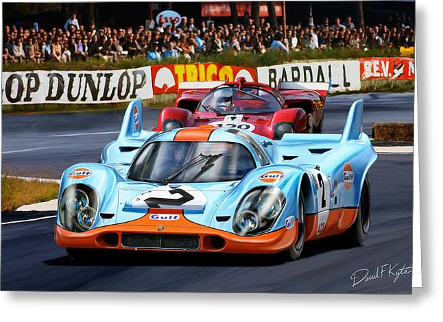 Porsche Greeting Cards - Porsche 917 at Le Mans Greeting Card by David Kyte