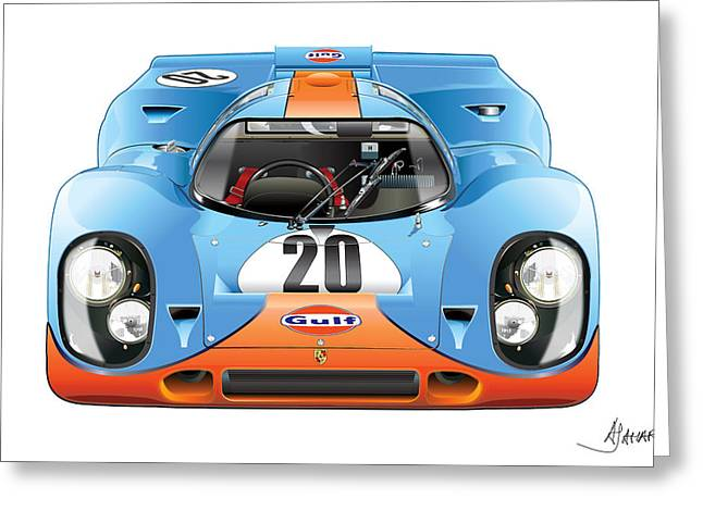 Automotive Art Greeting Cards - Porsche 917 Gulf On White Greeting Card by Alain Jamar