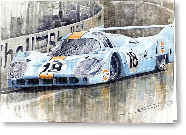 Team Paintings Greeting Cards - Porsche 917 LH 24 Le Mans 1971 Rodriguez Oliver Greeting Card by Yuriy  Shevchuk