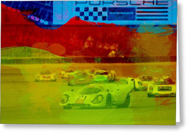 European Photographs Greeting Cards - Porsche 917 Racing Greeting Card by Naxart Studio