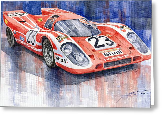 Sport Legends Greeting Cards - Porsche 917K Winning Le Mans 1970 Greeting Card by Yuriy  Shevchuk
