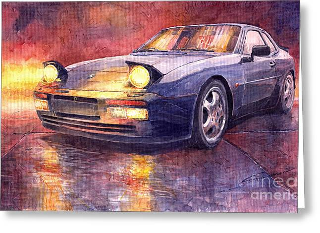 Classic Car Greeting Cards - Porsche 944 Turbo Greeting Card by Yuriy  Shevchuk