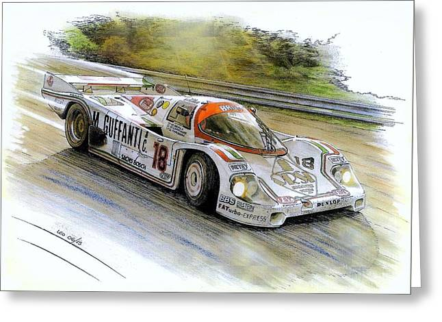Traditional Media Greeting Cards - Porsche 956B Greeting Card by Leonardo Baigorria