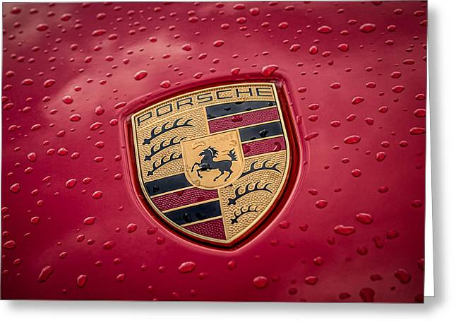 Rain Drops Greeting Cards - Porsche Badge Greeting Card by Douglas Pittman