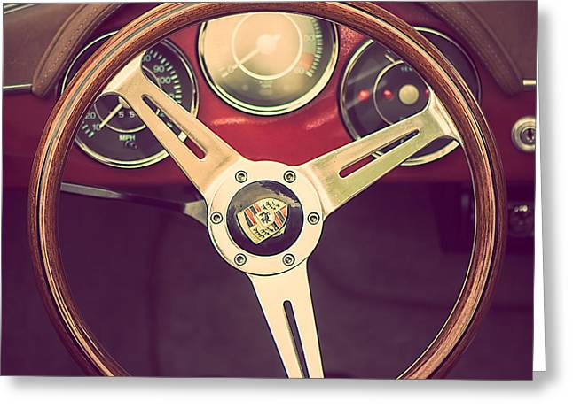 Steering Greeting Cards - Porsche - Behind the wheel Greeting Card by Malgorzata Dariusz Szupina