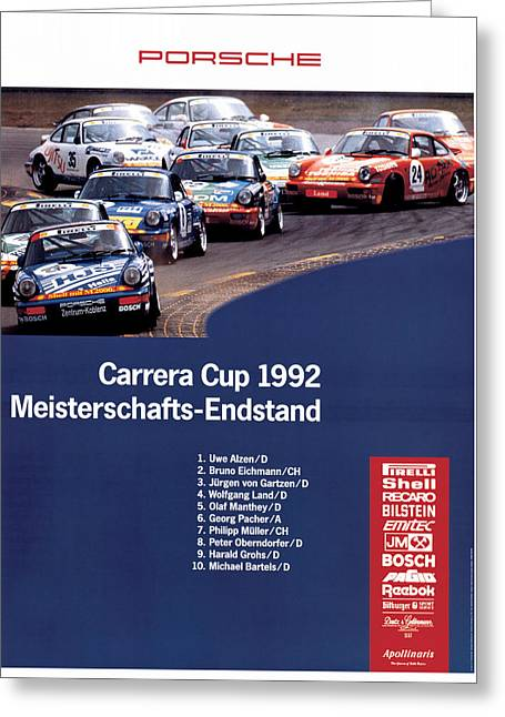 1992 Greeting Cards - Porsche Carrera Cup 1992 Greeting Card by Nomad Art And  Design