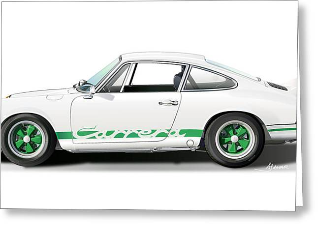 Porsche Carrera Rs Illustration Greeting Card by Alain Jamar