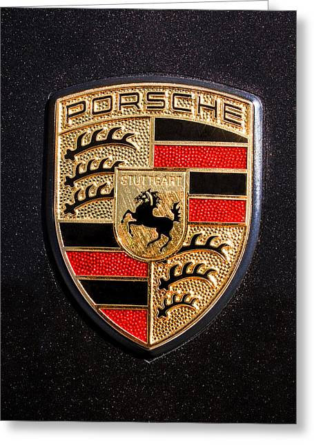 Photographer Photographs Greeting Cards - Porsche Emblem -211C Greeting Card by Jill Reger