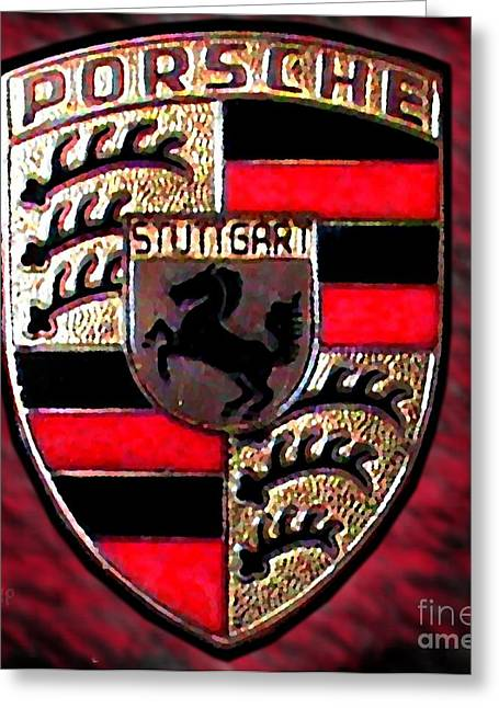 Smooth Ride Greeting Cards - Porsche Emblem Greeting Card by George Pedro