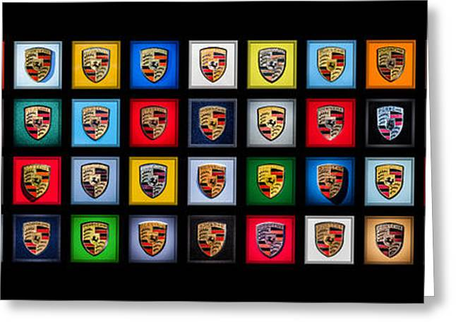 Famous Photographers Greeting Cards - Porsche Logos - Please Read Description Greeting Card by Jill Reger