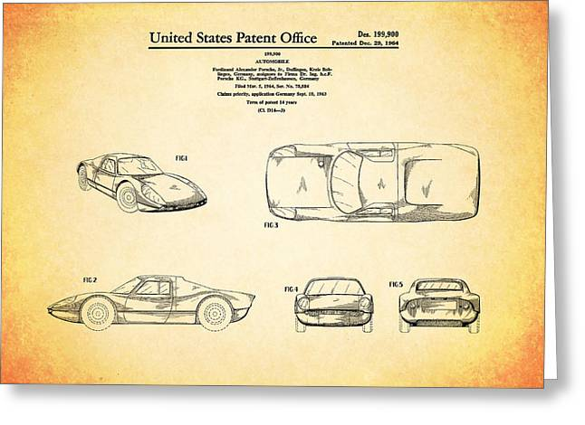 Porsche Greeting Cards - Porsche Patent 1964 Greeting Card by Mark Rogan