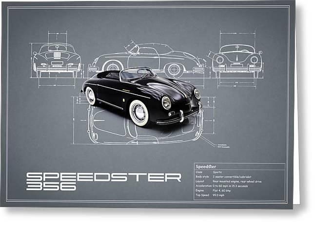 Porsche Greeting Cards - Porsche Speedster Blueprint Greeting Card by Mark Rogan