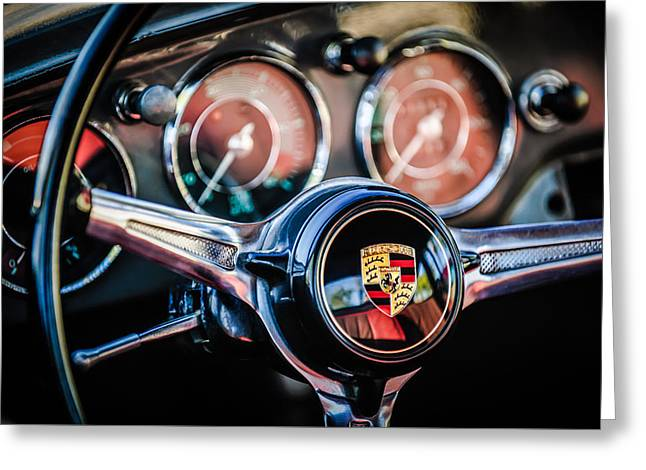 Famous Photographer Greeting Cards - Porsche Super 90 Steering Wheel Emblem -1537c Greeting Card by Jill Reger