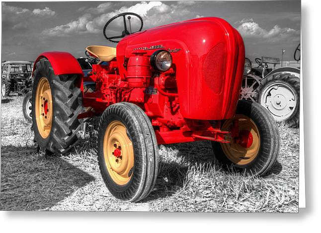 Junior Greeting Cards - Porsche Tractor Greeting Card by Rob Hawkins