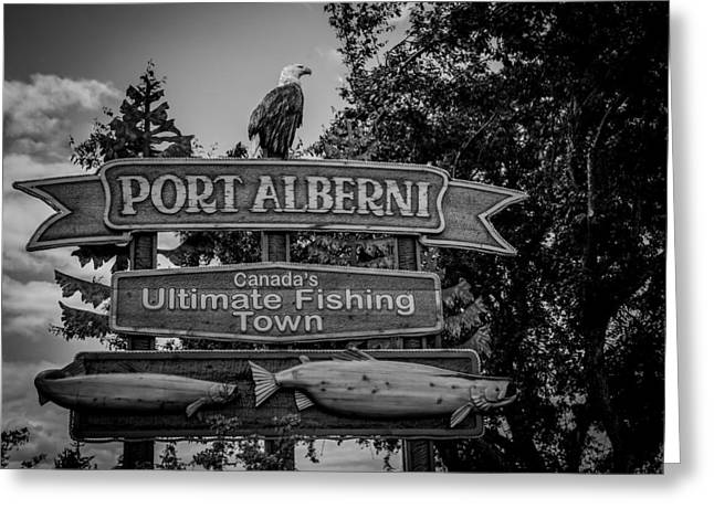 Signed Pyrography Greeting Cards - Port Alberni Greeting Card by Olga Photography