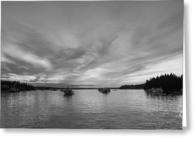 Blue Sailboats Greeting Cards - Port Clyde Sunset BW Greeting Card by Michael Ver Sprill