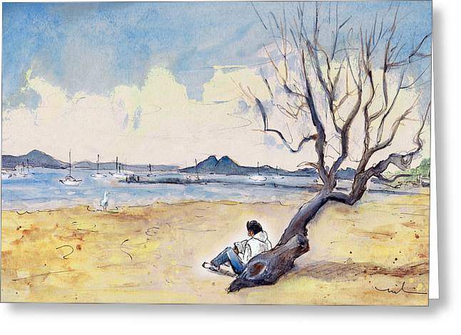 On The Beach Drawings Greeting Cards - Port De Pollenca 01 Greeting Card by Miki De Goodaboom