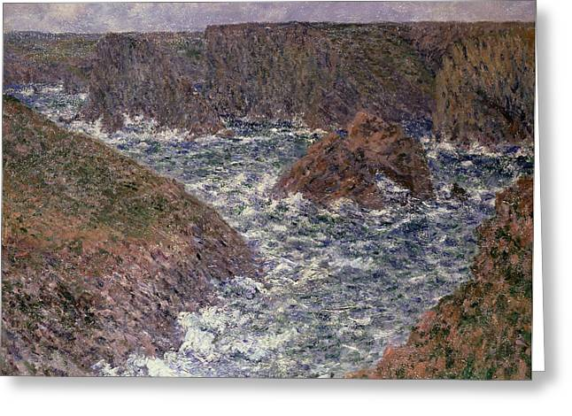 Port Greeting Cards - Port Domois at Belle Ile Greeting Card by Claude Monet