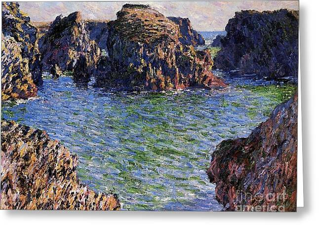 Port Greeting Cards - Port Goulphar Belle Ile Brittany Greeting Card by Claude Monet