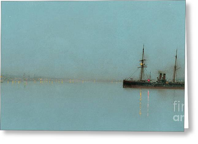 Port Light Greeting Card by John Atkinson Grimshaw