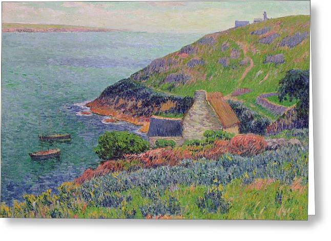 Calm Greeting Cards - Port Manech Greeting Card by Henry Moret