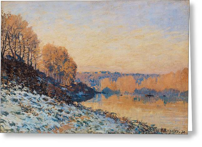 Marly Greeting Cards - Port Marly White Frost Greeting Card by Alfred Sisley